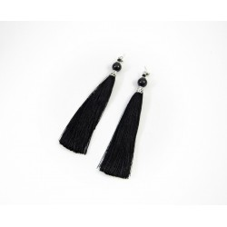 Ексклюзивні сережки китиці Агат чорний 12мм