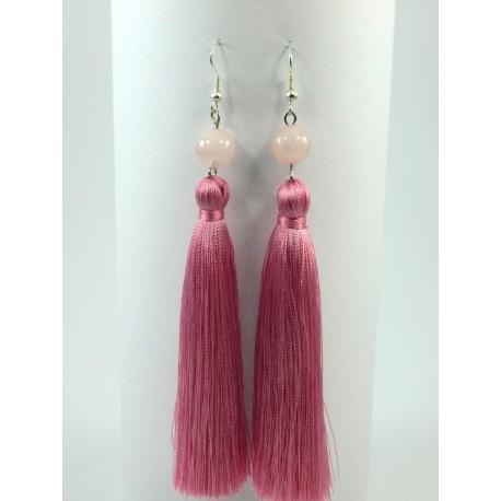 Ексклюзивні сережки-китиці Рожевий кварц