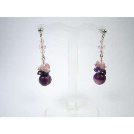 """Ексклюзивне намисто та сережки з агату """"Орхідея"""""""