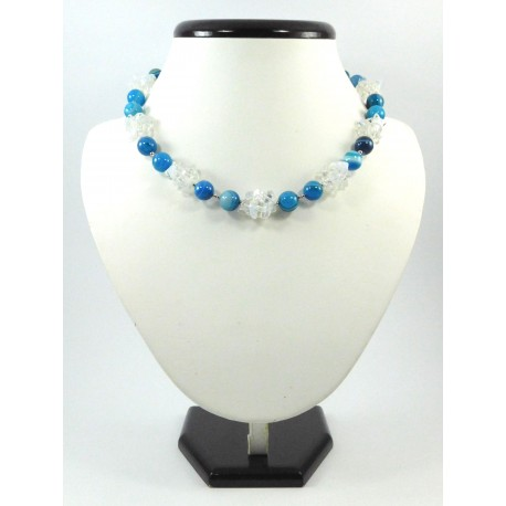 """Ексклюзивне намисто """"Морські хвилі"""" Агат+місячний камінь"""