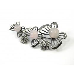 Брошка Рожевий Кварц метелики кохання