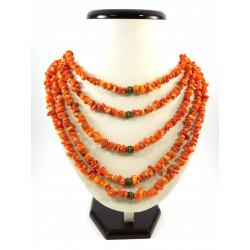 """Ексклюзивне намисто """" Оранжевий корал крошка"""" 5  рядів"""