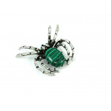Брошка Малахіт павук