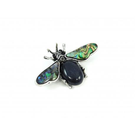 Брошка Авантюрин муха з геліотісом