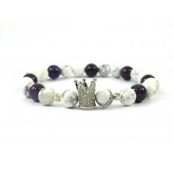 Ексклюзивний браслет Кахолонг+аметист корона срібні вставки