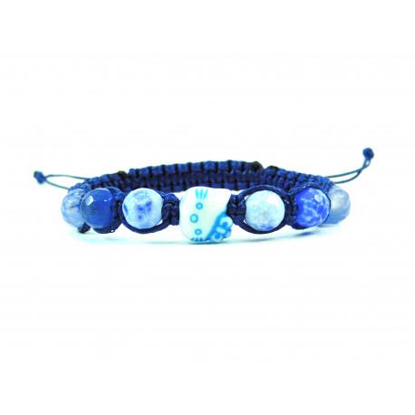 Ексклюзивна дитяча шамбала  Агат грань 8 мм нитка синя