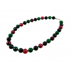Намисто Агат грань  червоний+чорний+зелений