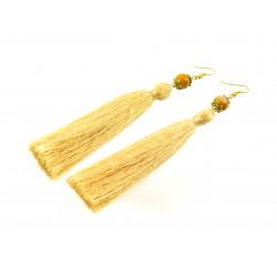Ексклюзивні сережки-китиці Яшма (золото) жовті