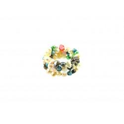 Кольцо Жемчужины цветные спираль