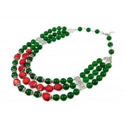 """Эксклюзивное ожерелье """"Два цвета 2"""" Хризопраз, Коралл"""