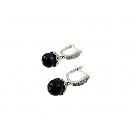 Ексклюзивні сережки Соколине око+срібна