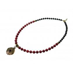 """Эксклюзивное ожерелье """"Этнический стиль"""" коралл + агат"""