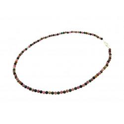 Намисто Турмалін кольоровий 4 мм шар гладкий+срібло