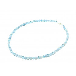 Ожерелье Аквамарин, Кварц кубик грань 5мм серебро