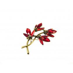 Брошка квіти червоні кристали