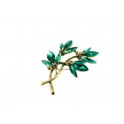 Брошка Квіти зелені кристали