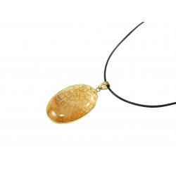 Підвіска Агат коричневий золота оправа 40*30мм