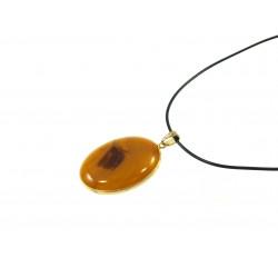 Підвіска Агат коричневий золота оправа 40*30 мм