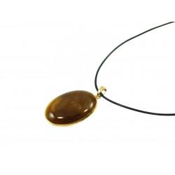 Підвіска Агат коричневий золота оправа 40*30 мм.