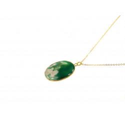Підвіска Агат зелений золота оправа 40*25 мм.