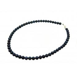 Намисто Перлини чорні 6 мм срібло