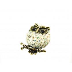 Брошка Геліотіс сова біла 36*48 мм.