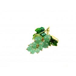 Брошка Нефрит виноградна лоза 35*45 мм.