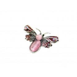Брошка Котяче око метелик 27*42 мм. рожевий