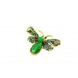 Брошка Котяче око метелик зелена 27*42 мм.