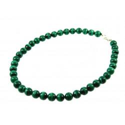 Ожерелье Малахит 10 мм серебро