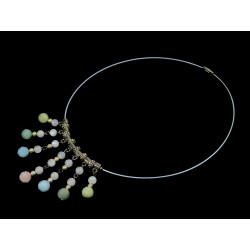 """Ексклюзивне намисто  """"Аристократка"""" Морганіт грань, адуляр срібні кульки  10-6 мм"""